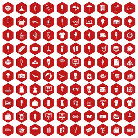 100 summer shopping icons set in red hexagon isolated vector illustration