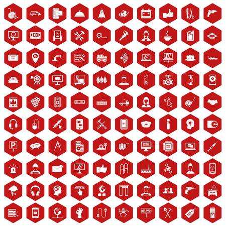 isp: 100 support center icons set in red hexagon isolated vector illustration Illustration