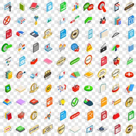 100 mark icons set in isometric 3d style for any design vector illustration