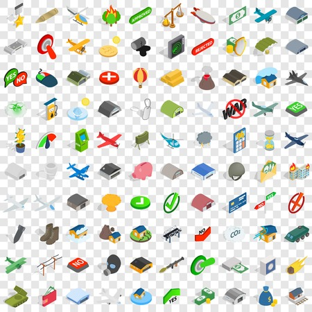 100 military icons set in isometric 3d style for any design vector illustration