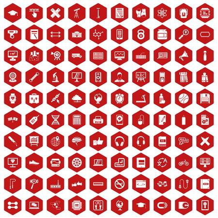 bar magnet: 100 training icons set in red hexagon isolated vector illustration