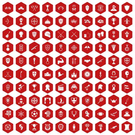 100 trophy and awards icons set in red hexagon isolated vector illustration Illustration