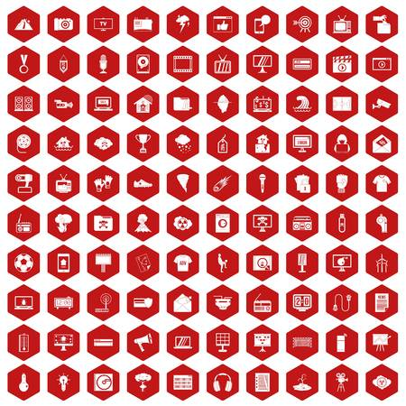 poppers: 100 TV icons set in red hexagon isolated vector illustration Illustration