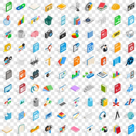 100 office document icons set in isometric 3d style for any design vector illustration