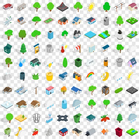 christmas tree illustration: 100 park icons set in isometric 3d style for any design vector illustration