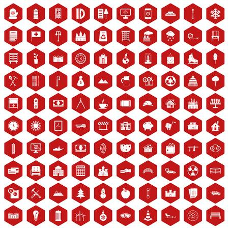 100 villa icons set in red hexagon isolated vector illustration