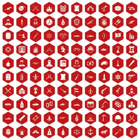 ship anchor: 100 weapons icons set in red hexagon isolated vector illustration