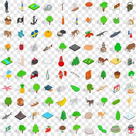100 planten en dieren pictogrammen instellen in isometrische 3D-stijl voor elke ontwerp vectorillustratie Stock Illustratie