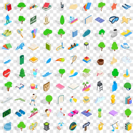 100 playground icons set in isometric 3d style for any design vector illustration
