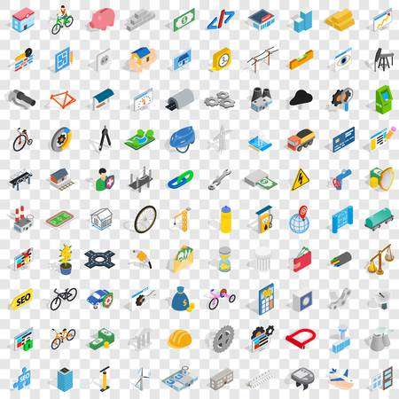 100 repair icons set in isometric 3d style for any design vector illustration Illustration