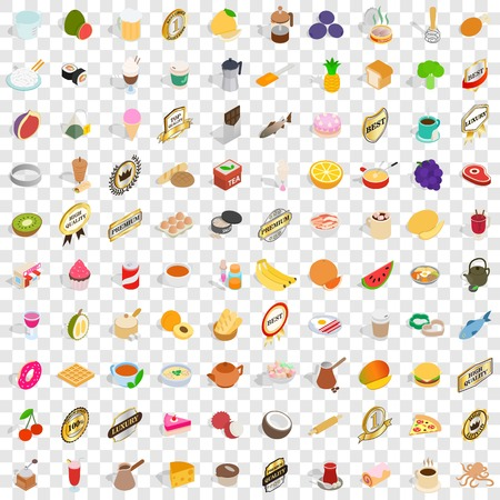 100 restaurant icons set in isometric 3d style for any design vector illustration