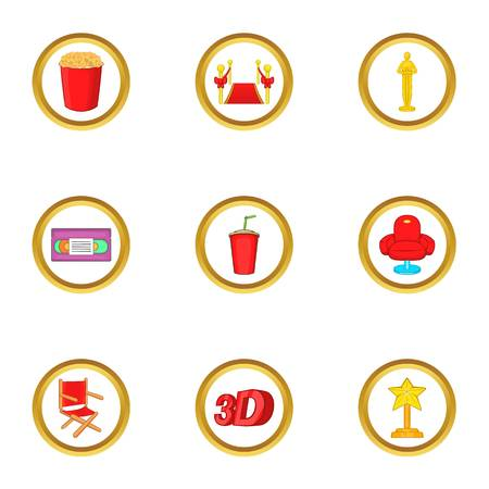 Cinema club icons set. Cartoon set of 9 cinema club vector icons for web isolated on white background Illustration