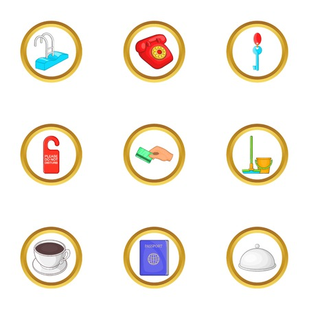 Hotel cleaning service icons set, cartoon style Illustration