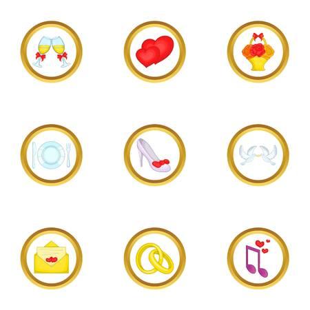 Anniversary icons set, cartoon style