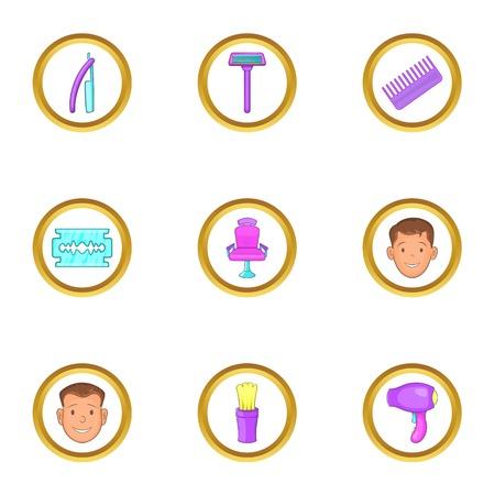 curler: Hairdresser tools icons set, cartoon style Illustration