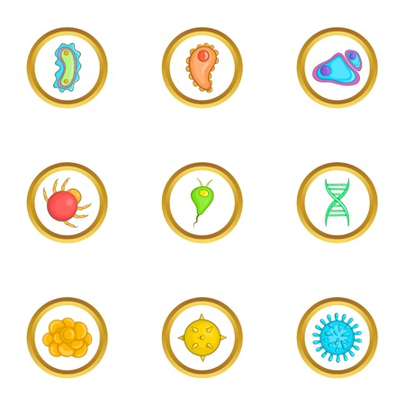 virus bacteria: Micro organism icons set, cartoon style Illustration