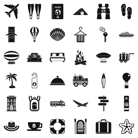 Travel time icons set. Simple style of 36 travel time vector icons for web isolated on white background