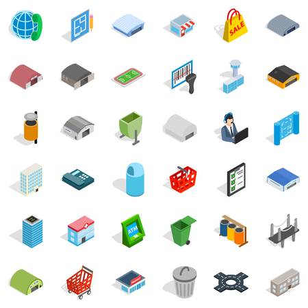 Big city icons set. Isometric style of 36 big city vector icons for web isolated on white background Illustration