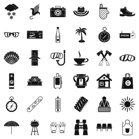 Small vacation icons set. Simple style of 36 small vacation vector icons for web isolated on white background