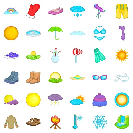 rainbow umbrella: Cold weather icons set. Cartoon style of 36 cold weather vector icons for web isolated on white background Illustration