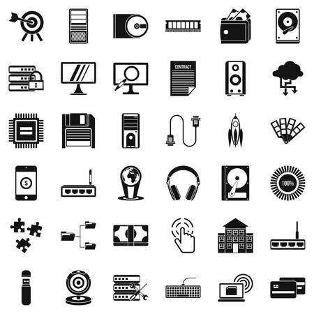 Web operation icons set. Simple style of 36 web operation vector icons for web isolated on white background Illustration