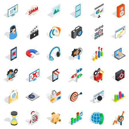 operation for: Web operation icons set. Isometric style of 36 web operation vector icons for web isolated on white background Illustration