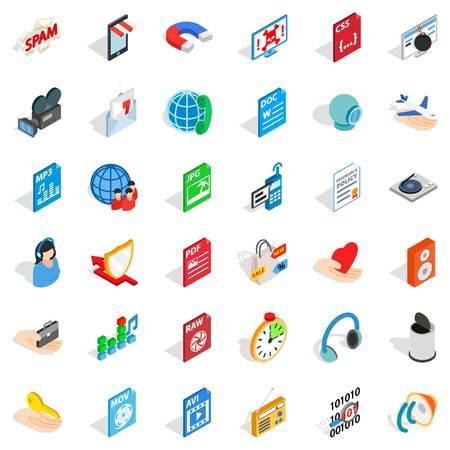 mov: Web folder icons set. isometric style of 36 web folder vector icons for web isolated on white background Illustration