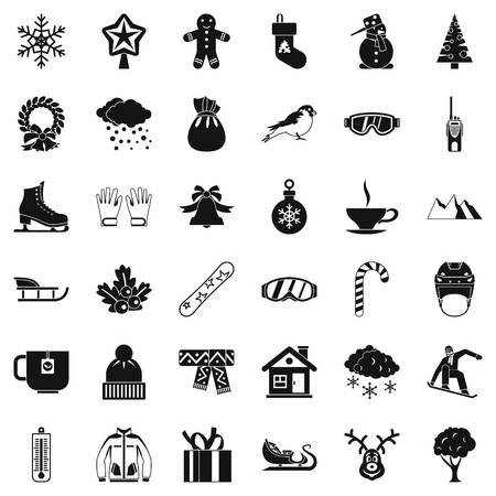 christmas tree illustration: Winter clothes icons set. Simple style of 36 winter clothes vector icons for web isolated on white background Illustration