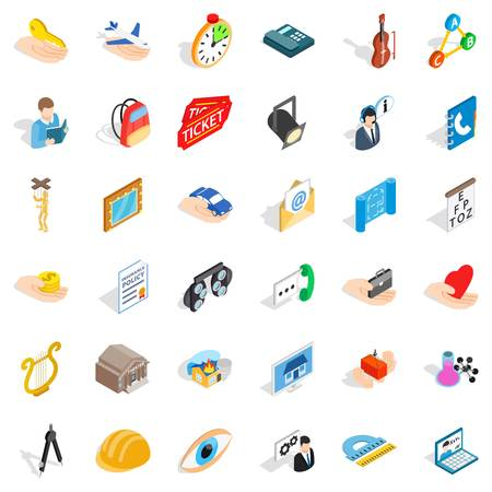 Hard work icons set. Isometric style of 36 hard work vector icons for web isolated on white background