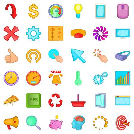 Work diagram icons set. Cartoon style of 36 work diagram vector icons for web isolated on white background Illustration