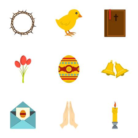 Holy Easter icon set, flat style Illustration