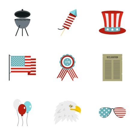 USA patriotic holiday icon set, flat style Illustration