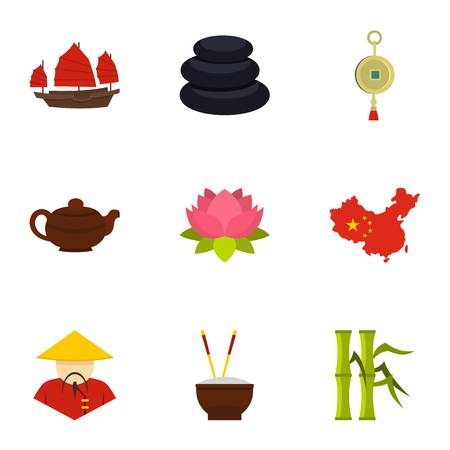 China travel icon set, flat style Illustration