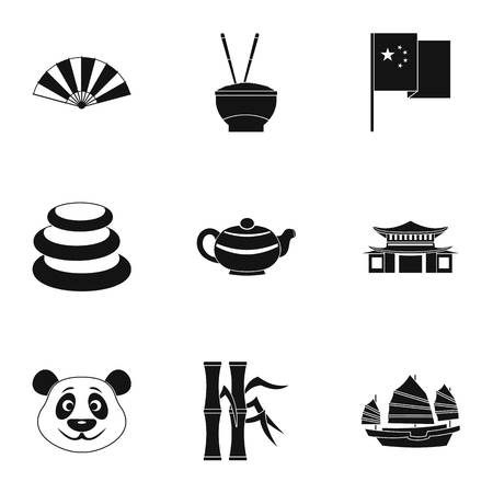 Chinese icon set. Simple style set of 9 country of China vector icons for web isolated on white background Illustration