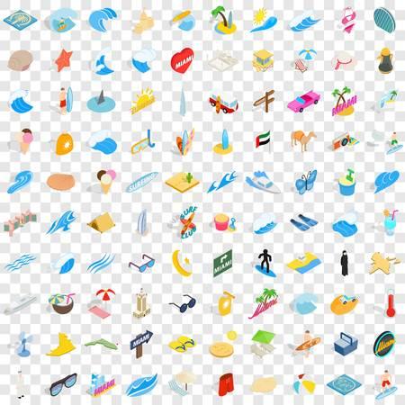 100 sand icons set, isometric 3d style