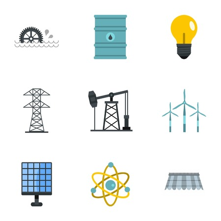 Electricity industry icon set, flat style