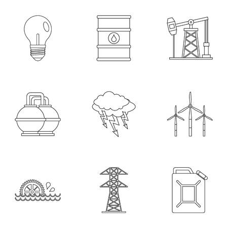 Power industry icon set, outline style Illustration