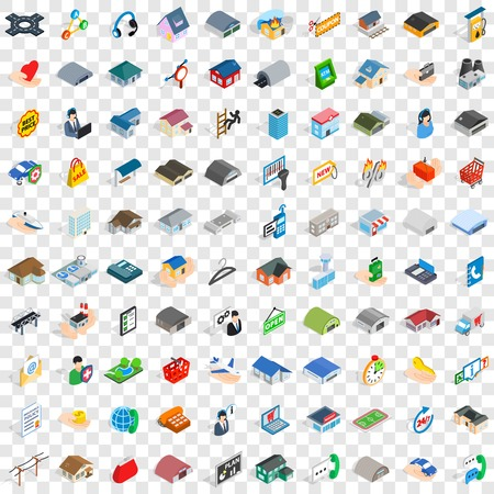 pigsty: 100 shed icons set in isometric 3d style for any design vector illustration