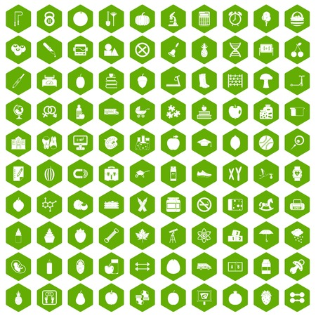 100 apple icons set in green hexagon isolated vector illustration