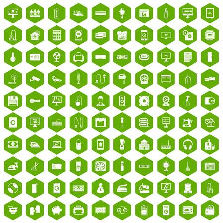 100 appliances icons set in green hexagon isolated vector illustration