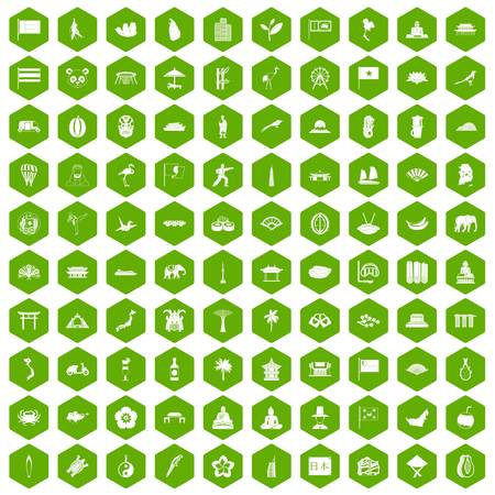 100 asian icons set in green hexagon isolated vector illustration