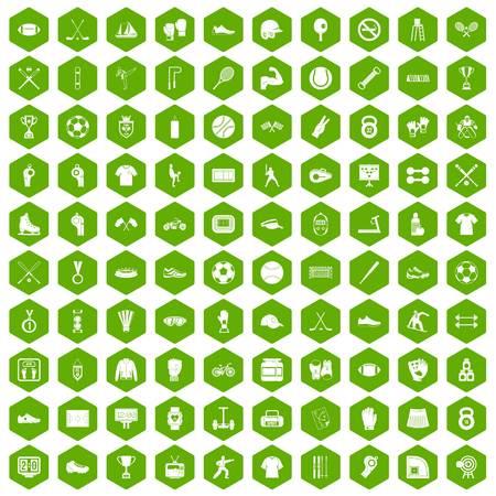 100 die atletenpictogrammen in groene zeshoek geïsoleerde vectorillustratie worden geplaatst Stock Illustratie