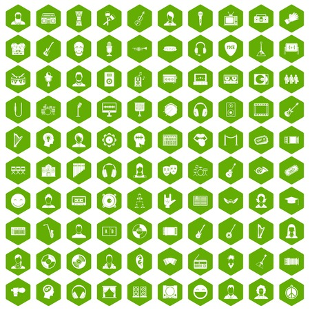 listeners: 100 audience icons set in green hexagon isolated vector illustration