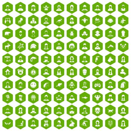 100 avatar icons set in green hexagon isolated vector illustration