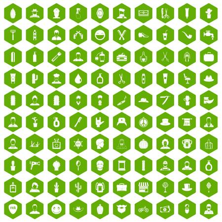 100 barber icons set in green hexagon isolated vector illustration