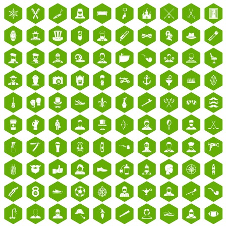 100 beard icons set in green hexagon isolated vector illustration