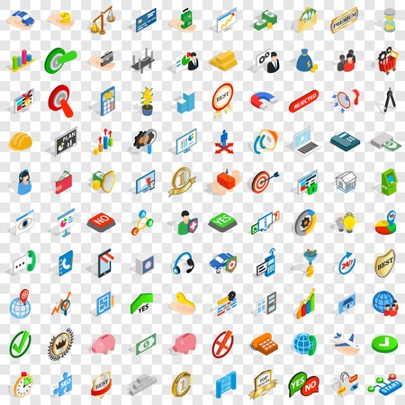 100 successful business icons set in isometric 3d style for any design vector illustration