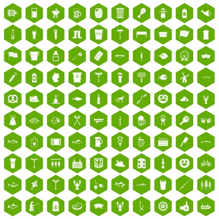 bbq barrel: 100 beer icons set in green hexagon isolated vector illustration Illustration