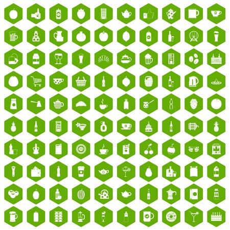 100 drankpictogrammen die in groene zeshoek geïsoleerde vectorillustratie worden geplaatst
