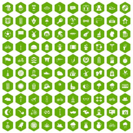 100 bicycle icons set in green hexagon isolated vector illustration